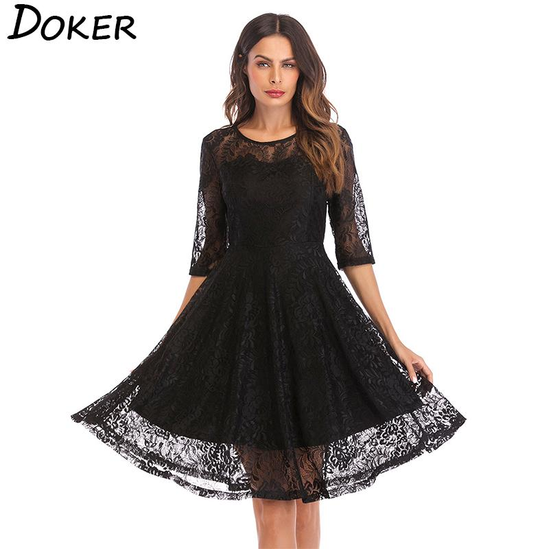 10ac13711452 2019 2019 New Lace Vintage Large Swing Dress Women O Neck 3 4 Sleeve Knee Length  Dress Ladies Plus Size Elegant Evening Party Dress From Beautyclothing