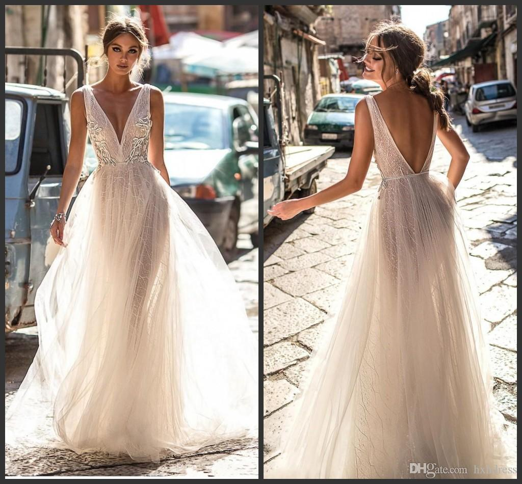 2019 New Berta Lace Wedding Dresses Backless V Neckline Illusion Bodice Floor Length Sexy Open Back Bridal Gowns