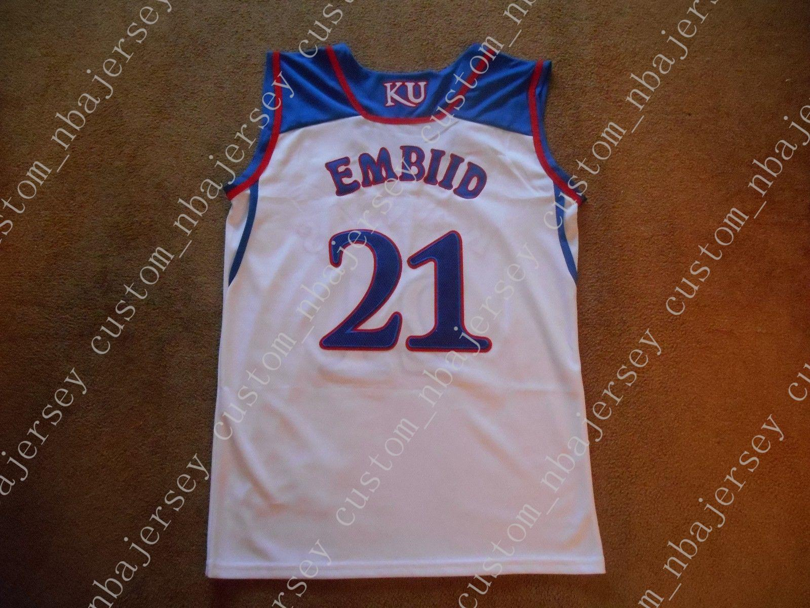 6609a863eb7d 2019 Cheap Mens Joel Embiid  21 Kansas Jayhawks STITCH White College Basketball  Jersey Custom Any Player For Any Name Embroidery Jerseys From ...
