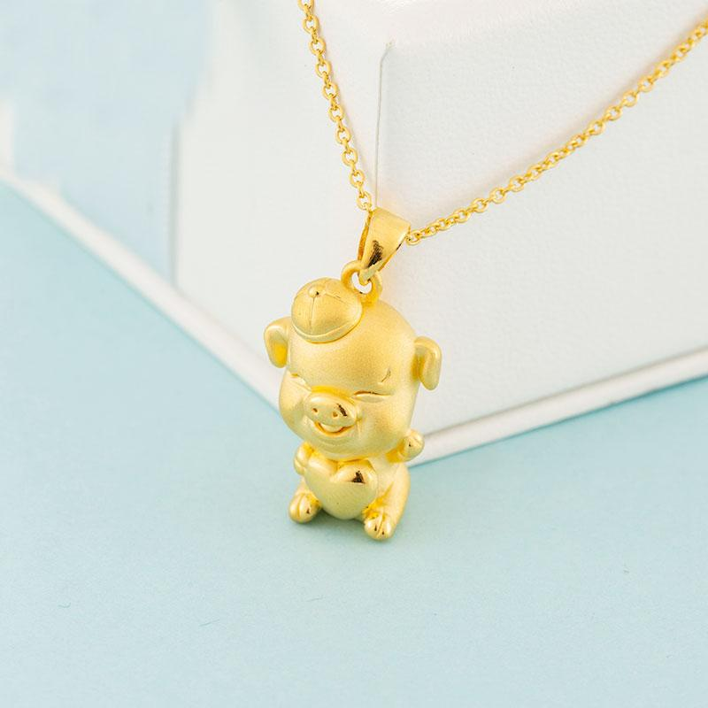 Pure 24K Yellow Gold Pendant Women 3D 999 Gold Lucky Pig Pendant 2.85
