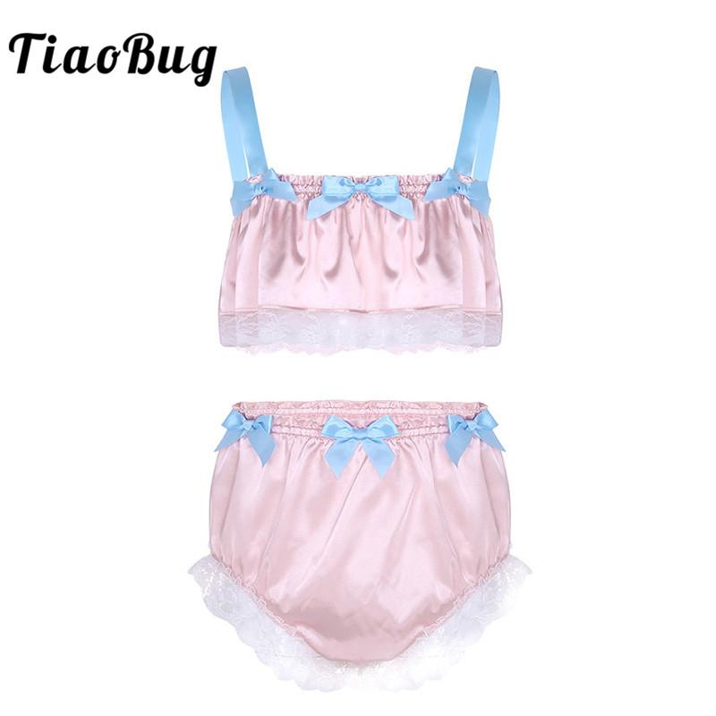 2019 TiaoBug New Men Soft Satin Lace Crossdressing Sissy Lingerie Set  Spaghetti Straps Crop Top Bikini Briefs Hot Sexy Underwear Set From Duanhu