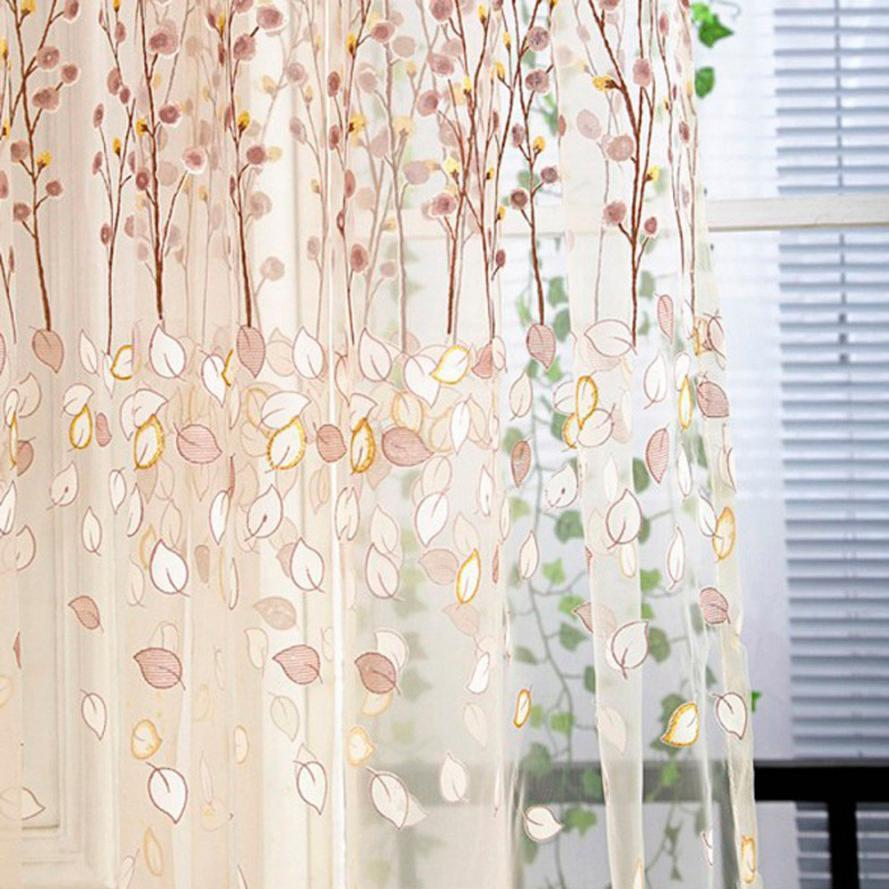 2019 Floral Tulle Door Window Curtain Drape Panel Sheer Scarf