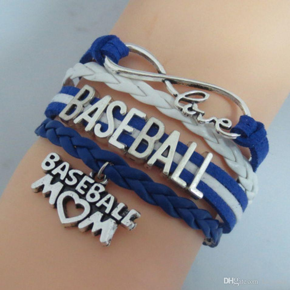 Baseball Player Alphabet Chain Bracelet 8 Colors Unisex Woven Leather Wristband Exquisite Present For Firiendship 20 Pieces ePacket