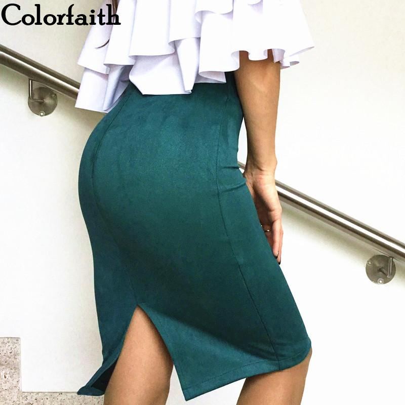 Multi colors Women Skirt Winter Solid Suede Work Wear Package Hip Pencil Midi Skirt Autumn Winter Bodycon Femininas