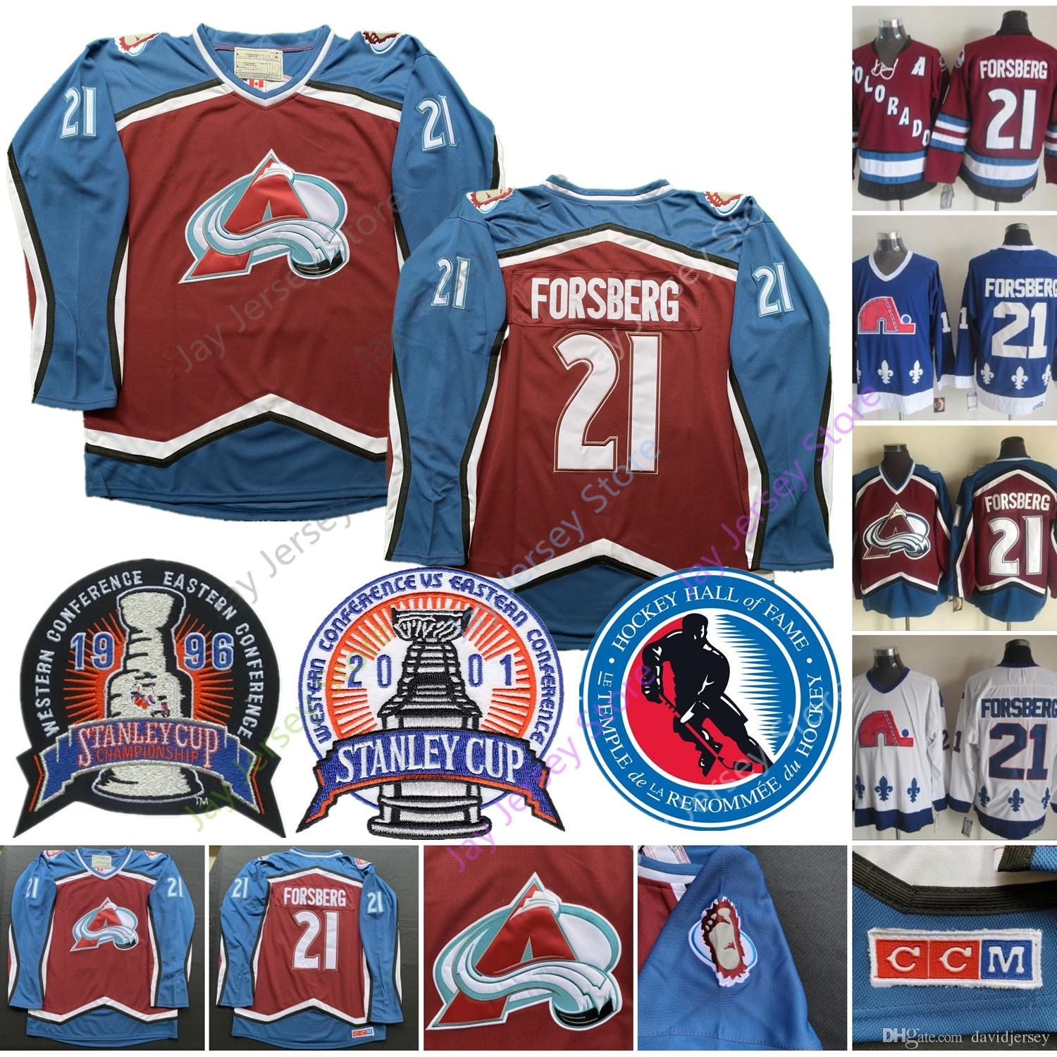 save off a5a3f 8fe2e Peter Forsberg Jersey 1996 2001 Stanley Cup 2014 Hall Of Fame HOF Colorado  Avalanche Quebec Nordiques Ice Hockey Jerseys