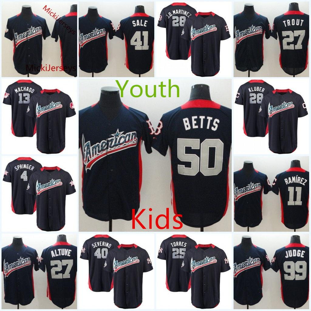 timeless design f4568 f58cc Youth 2018 ALL-Star American League Jersey Kids JD. Martinez Mookie Betts  Chris Sale Mike Trout Aaron Judge Kluber Jose Altuve Jersey