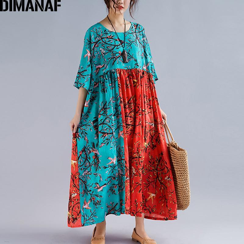 578d0a6608964 DIMANAF Plus Size Women Maxi Dress Summer Beach Sundress Linen Female  Vestidos Elegant Lady Loose Print Floral Big Size 5XL 6XL