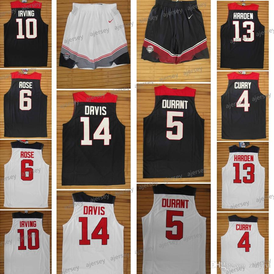 Basketball World Cup Dream Team 11 Men Basketball Jersey Basketball Shorts  4 Stephen Curry 6 Derrick Rose 13 James Harden 14 Anthony Davis Warriors  Lakers ... d160f93f7
