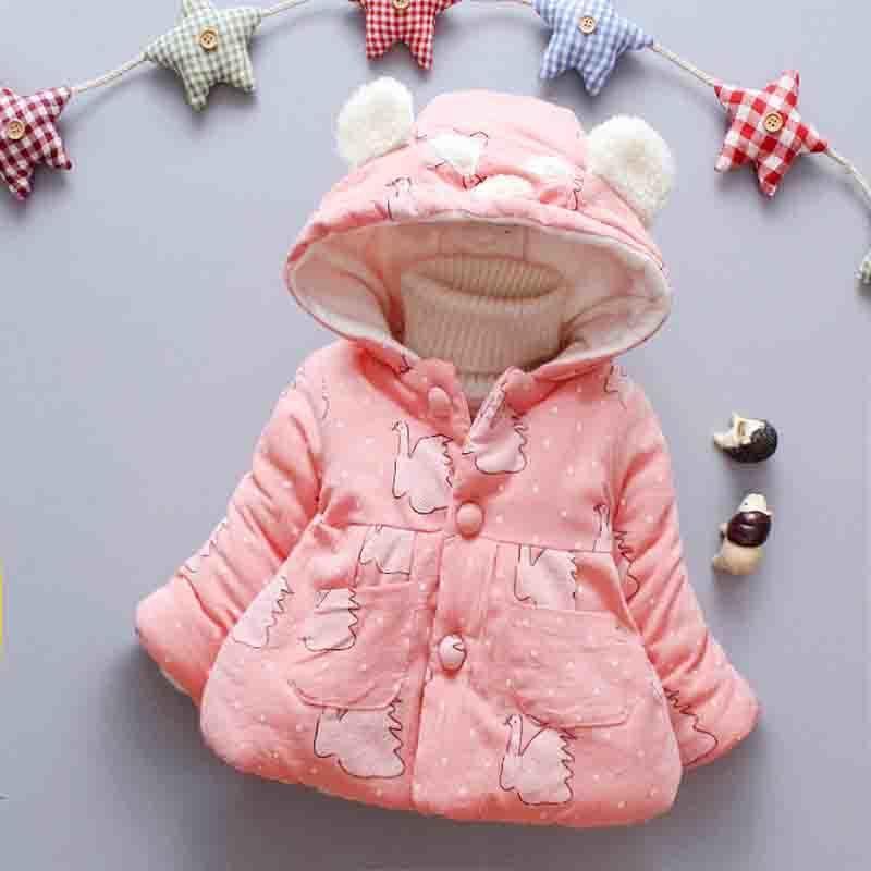 0d5cbf6d8883 Good Quality Newborn Outerwear Winter Swan Print Hooded Baby Girls ...