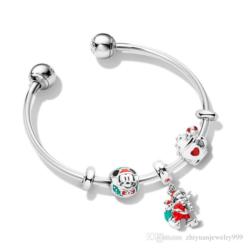 a1a674d52 Valentine Gifts Sale Pandora Magic Christmas Charm Open Bangle Bracelets  925 Sterling Silver Jewellery Full Package Gifts Child Charm Bracelet  Customized ...