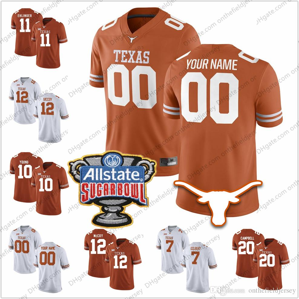 2019 Custom Texas Longhorns Any Name Number 2018 Sugar Bowl 11 Sam Ehlinger  12 Colt McCoy 20 Campbell 10 Young College Football Jerseys S 3XL From ... 0206f9048