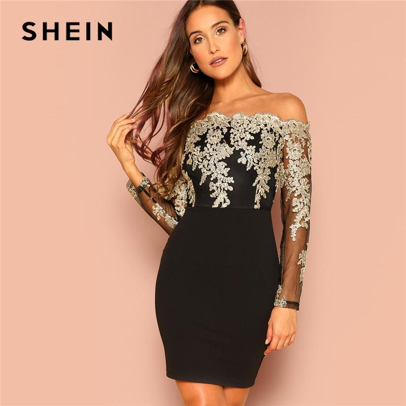 a4142096641 SHEIN Black Sexy Off The Shoulder Embroidered Mesh Bodice Bardot Bodycon  Dress Women Long Sleeve Summer Going Out Party Dresses Black Ladies Dress  Ladies ...