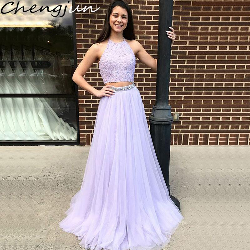 Chengjun Lavender Lace Top Tulle Bottom Halter A-Line Two Piece Evening Dresses