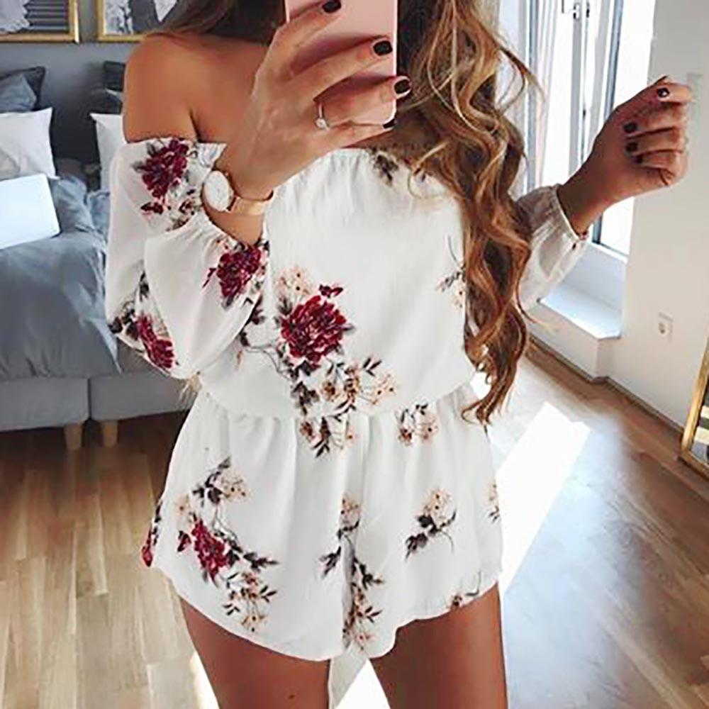 FREE OSTRICH Fashion women's word collar strapless personality belt comfortable backless sexy jumpsuit printed floral jumpsuit