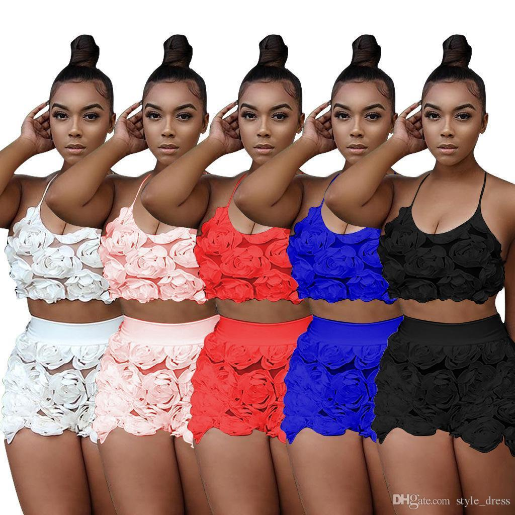 f6683928b 2019 Plus2019 Sexy Two Piece Sets Women Floral Mesh Lace Halter Crop Top+Shorts  Summer Outfits Clothing Set From Westcoast, $36.02 | DHgate.Com