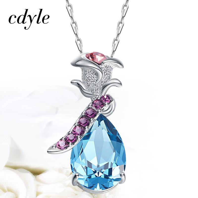 Cdyle Charms Women Rose Vintage Pendant Crystals from Swarovski S925 Sterling Silver Necklace Blue Purple Jewelry