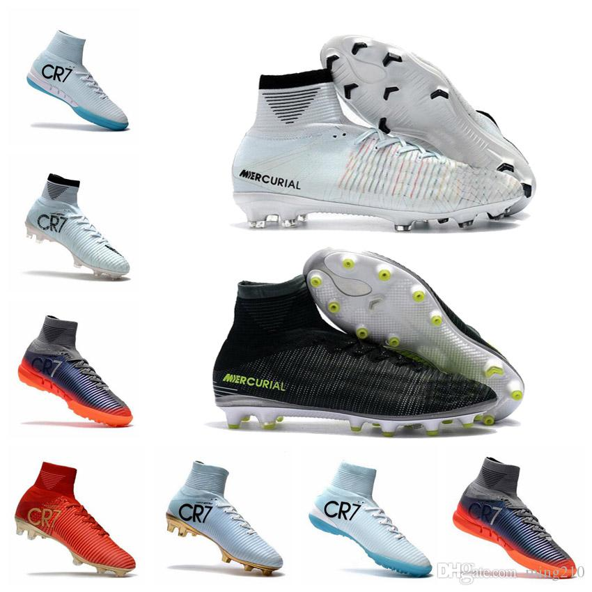 brand new b40ee eae61 2019 High Top Mens Soccer Shoes Cristiano Ronaldo Mercurial Superfly V FG  CR7 Football Boots White Golden Soccer Shoes Mens Training Sneakers From  Ming210, ...