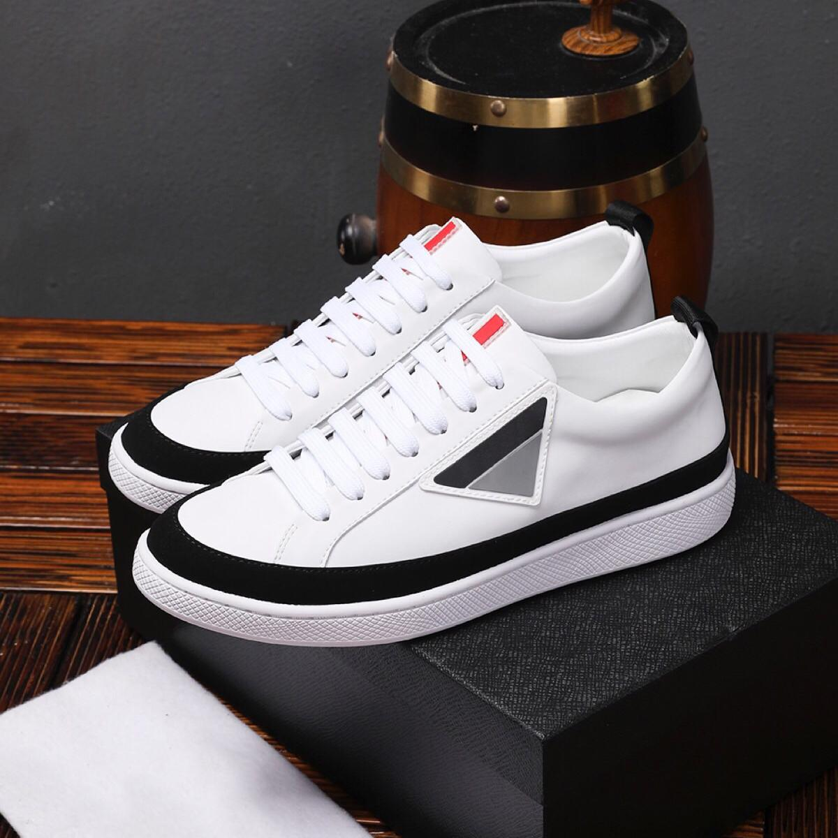 2019 Mens Designer Casual Shoes Geometric Brand Fashion Sneakers Lace Up Luxury White Dress Top Quality with Box 9962CE