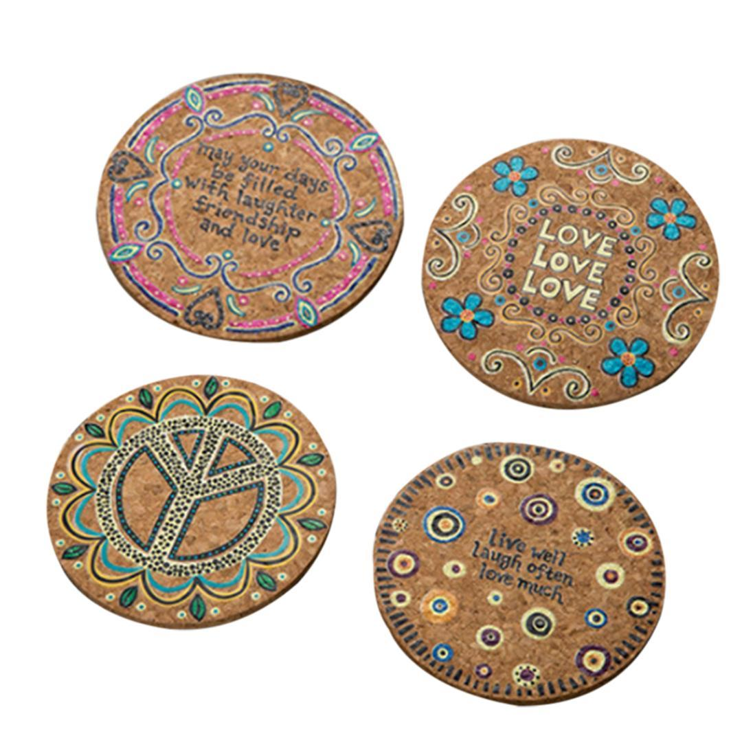 4Pcs Natural Cork Round Cup Mat Drink Coasters Heat Insulation Patterned Pot Holder Mats for Coffee Table Tabletop (Mixed)