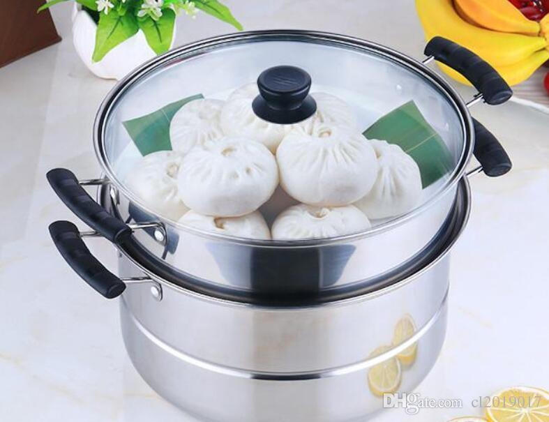 Stainless steel steamer double layer two layer two layer stainless steel multi-purpose pot steamed soup pot Hot pot