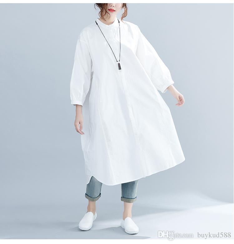 52c570b6e6399 Buykud 2019 Casual Lantern Sleeve Stand Collar Dress Spring And Summer New  Loose Casual Medium Long Shirt Skirt Velvet Dress Knee Length Dresses From  ...