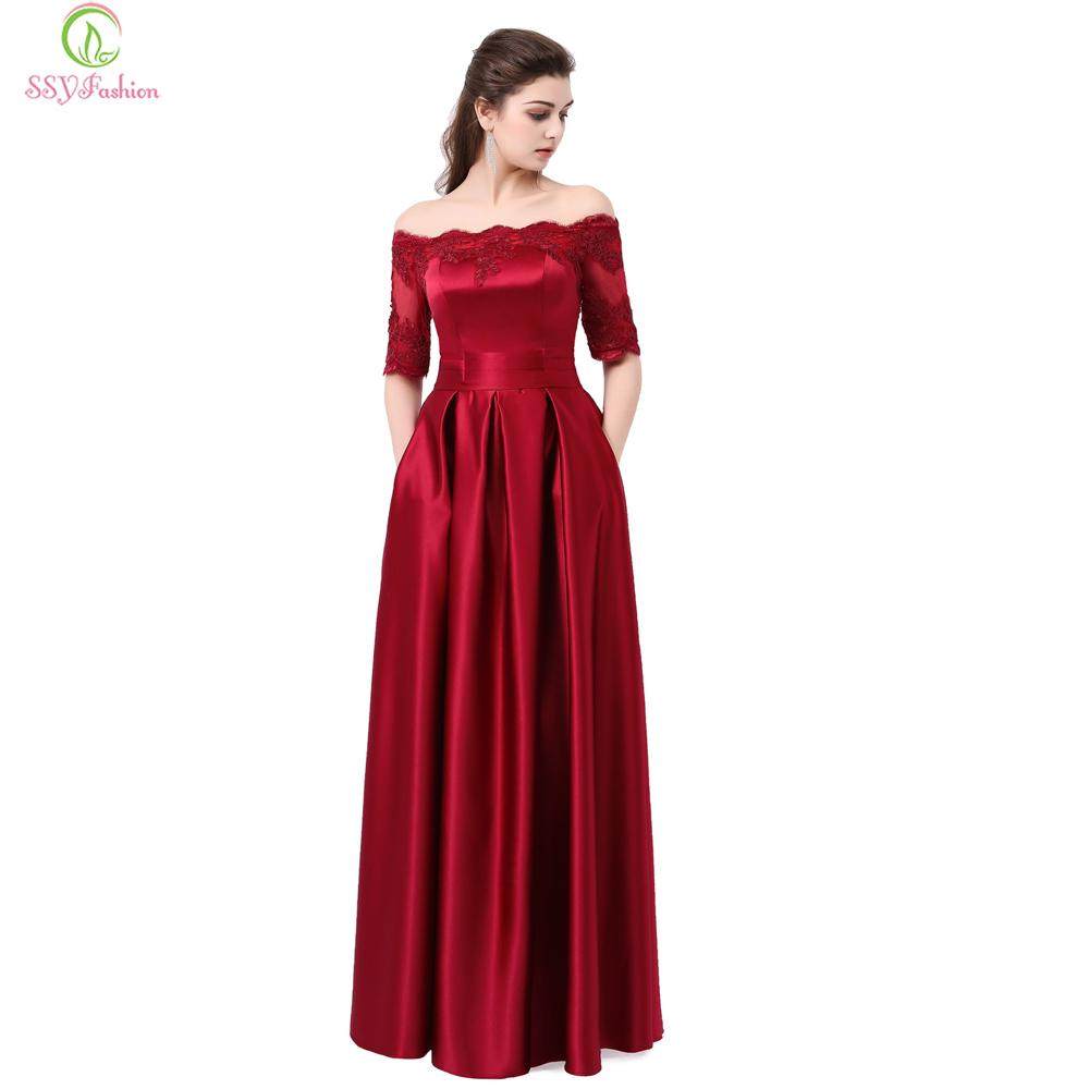 2019 SSYFashion Wine Red Lace Embroidery Luxury Satin Half Sleeved Long Evening  Dress Elegant Banquet Party Gown Robe De Soiree C18122201 From Linmei0006 fcaf5fb58b53