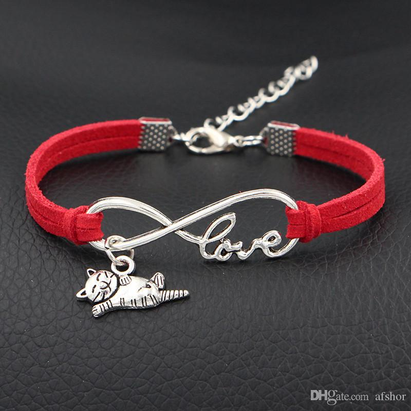 2018 Silver Infinity Love Cat Sign Pendant Chain Link Bracelets & Bangles for Women Men Ladies Red Leather Jewelry Gift Wholesale Price Girl