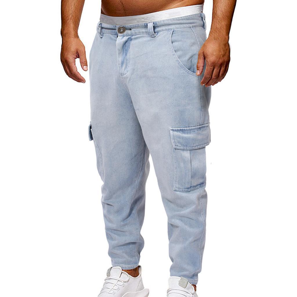 399ae8f964 Compre Pantalones Vaqueros 2019 Nuevos En Llegados Moda Hombres Calientes  Largos Pierna Recta Suelta Bolsillo Casual Pantalones De Mezclilla Strech  Jeans ...