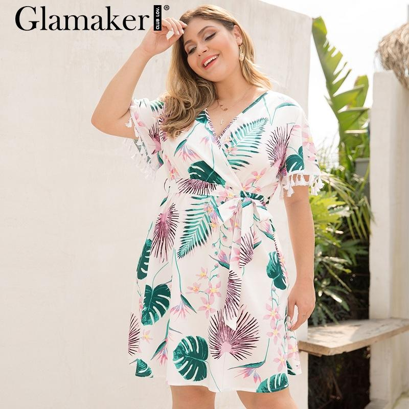 e3f944667b3 Glamaker Elegant White Tassel Summer Club Dress Women Large Size Mini  Dresses For Ladies Floral Printed Short Sleeve Party Dress Sun Dresses For  Sale ...