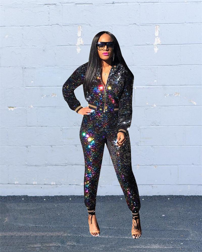8f8a851b3c01 2019 Women Sexy Mermaid Sequin Two Piece Clothes Set Gradient Glitter Crop  Jacket And Pants Tracksuit Long Sleeve Zipper Coat Top Outfit S 2xl From ...
