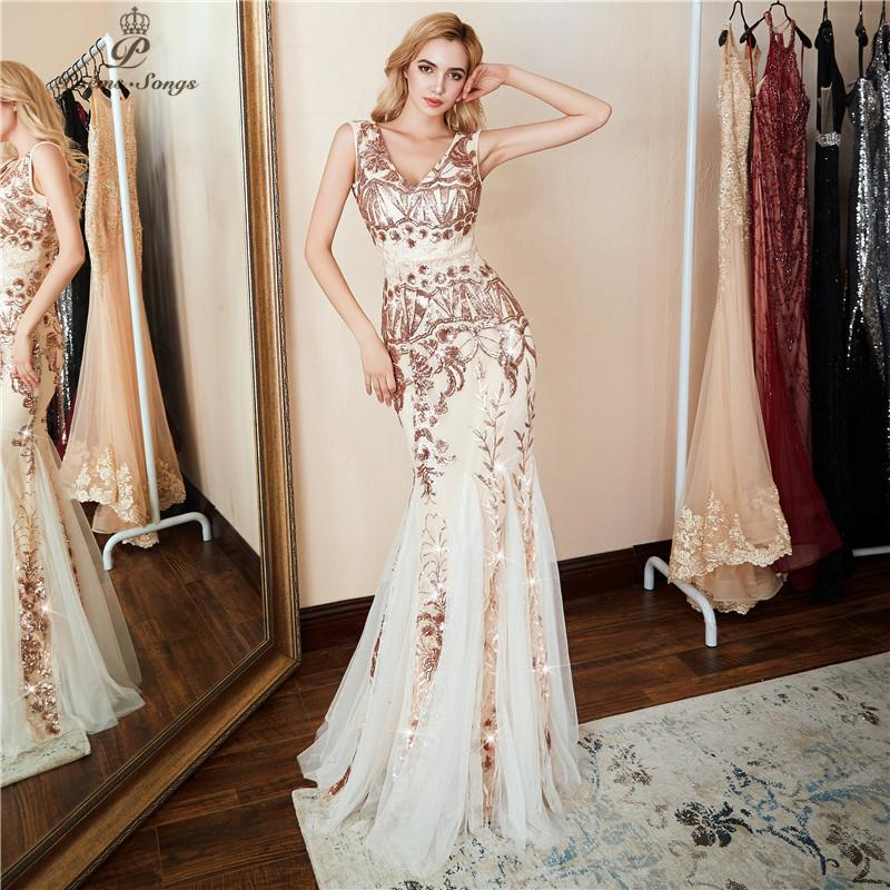Poems Songs 2019 V-neck Evening Dress Vestido De Festa Formal Party Dress Luxury Gold Sequin Prom Dress U-back Y19042701