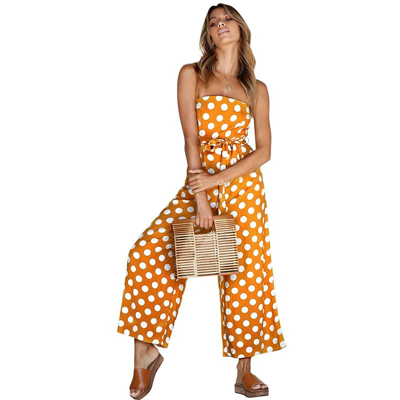 885db8eeb30 2019 Rompers Womens Jumpsuit 2019 New Summer Holiday Beach Red Polka Dot Jumpsuits  Women Wide Legged Long Pants Chiffon Overalls From Jincaile02