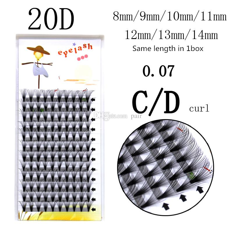 Private label 100% handmade 12 rows 0.07mm 20 roots/Cluster 3D mink Individual Eyelash Cluster Eye Lashes Extension