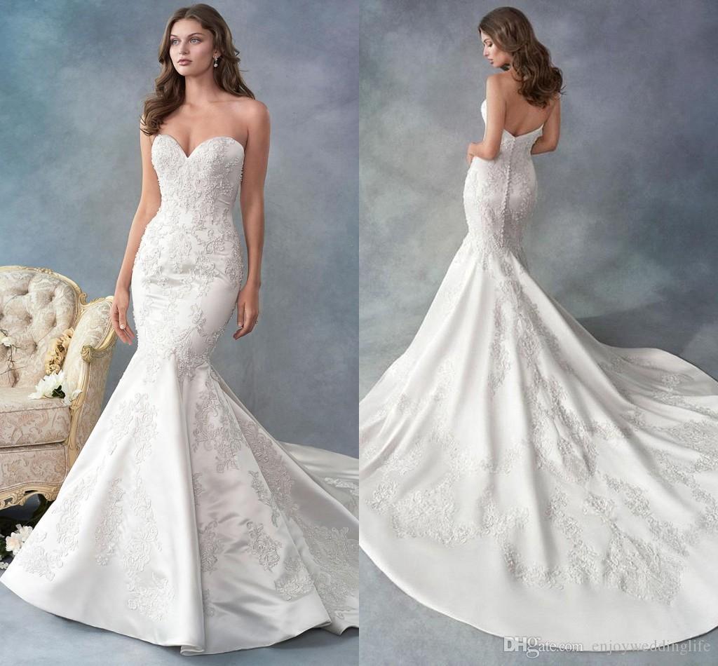 dbcd57955c87 Gorgeous Sweetheart Satin Mermaid Wedding Dresses 2019 Lace Appliques Sleeveless  Long Sweep Train Wedding Bridal Gowns Custom Made In Wedding Dress Mermaid  ...