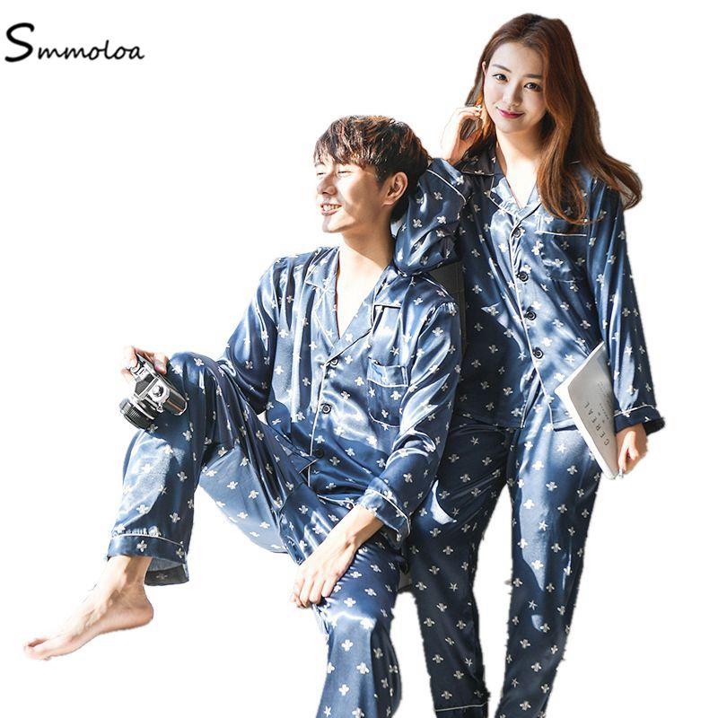 05a1c6d09ba Smmoloa Couple Comfortable Silk Pajams Set Girl Men Print Pyjama Set ...