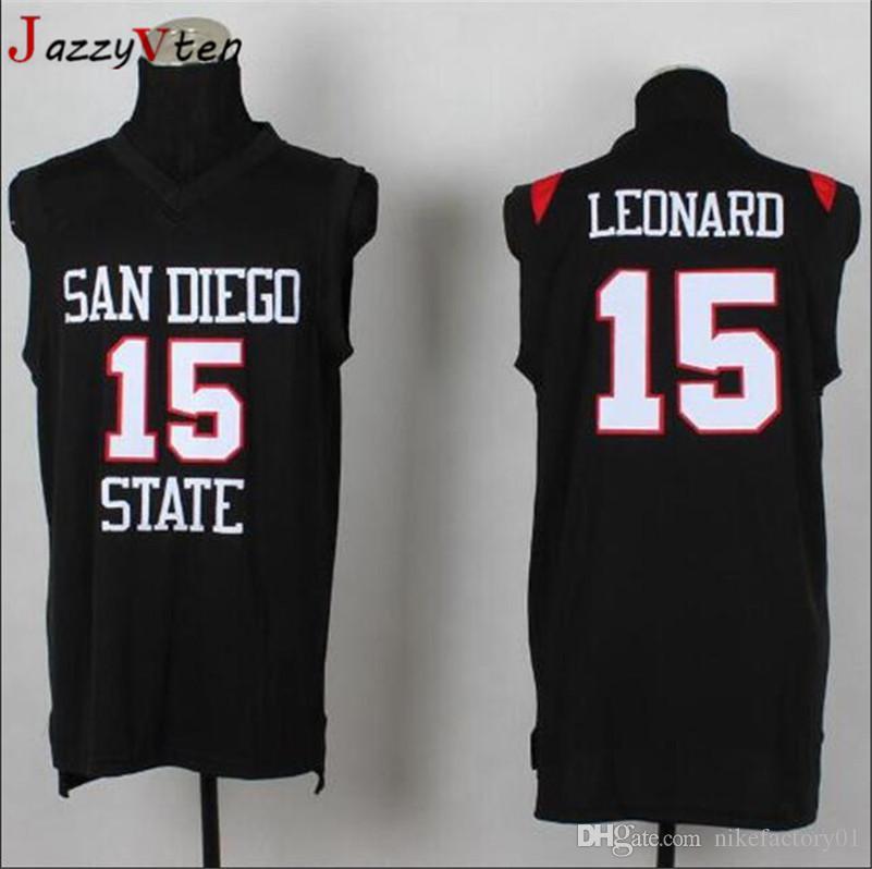 c6206ea6143 2019 San Diego State Aztecs  15 Kawhi Leonard Jersey  2 College Embroidery  Basketball Jerseys Black White University Shirts Basketball Jerseys From ...