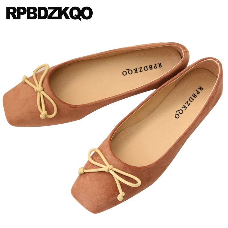 Wedding Ballet Shoes Flats Pink Korean Japanese Chinese Beautiful Cute Suede Cheap Square Toe Women Bow Foldable Ballerina 2019
