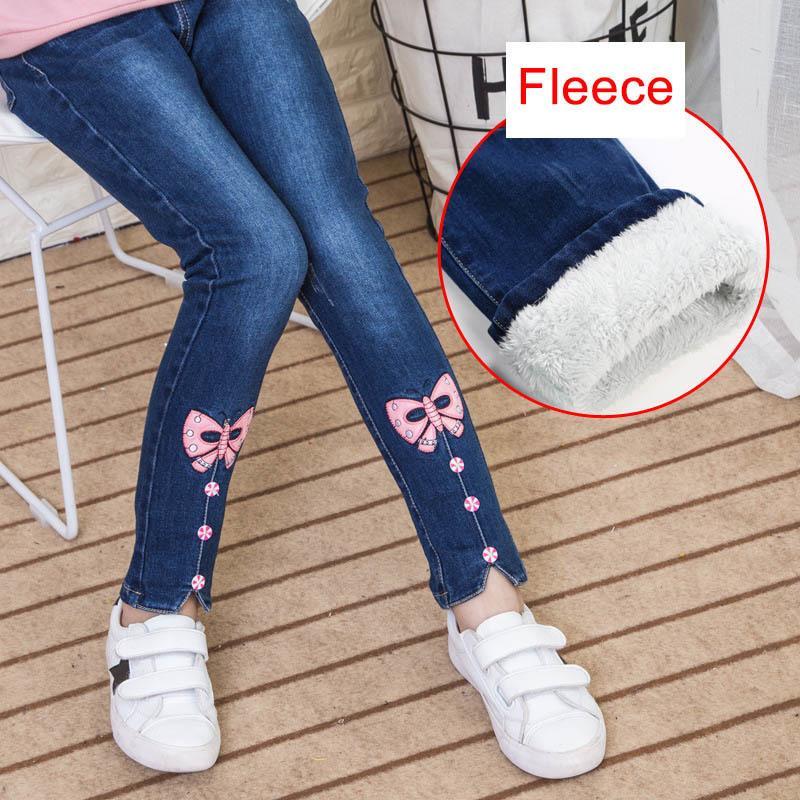 42772da92 Compre Fleece Jeans Para Niñas Invierno 2019 Ropa Para Niños De Algodón  Grueso Grueso Vaqueros Leggings Adolescente Elástico Pantalones De  Mezclilla Niña 12 ...