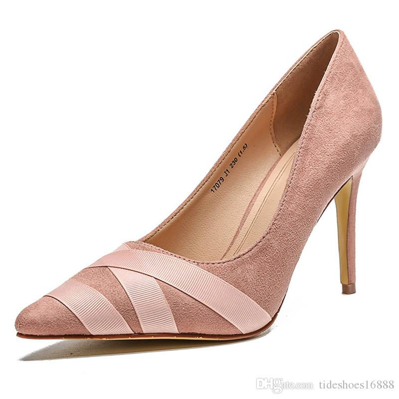 Office Ladies Shoes Thin High Heels Stilettos Pumps European And American  Style Shallow Mouth Pointed Toe Bridal Wedding Shoes Black Pink Gr Shoe  Boots Sexy ... ea8ad4faf672