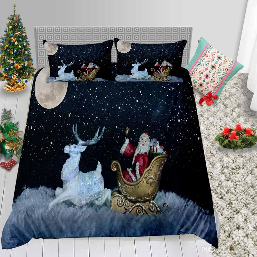 Sculpture Santa Printed Bedding Set Queen Christmas Fantasy Duvet Cover King Soft Double Full Twin Single Bed Cover with Pillowcase 3pcs