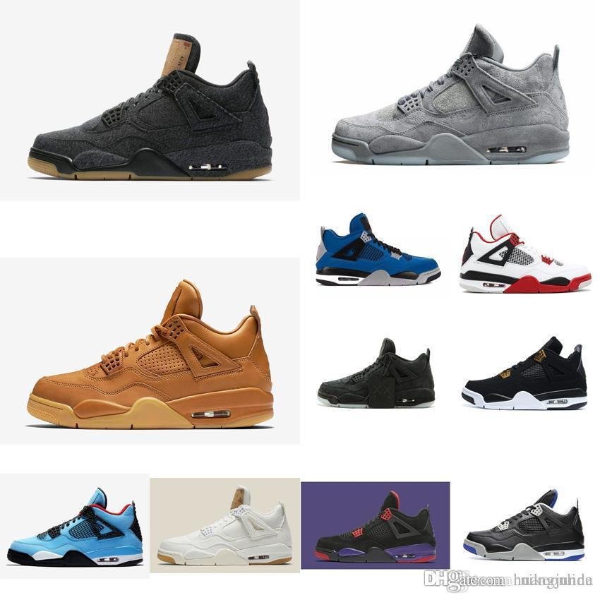 e1f8f2ff333 2019 Cheap New Mens Jumpman Retro 4s IV Basketball Shoes Denim Jeans Black  White Navy Kaws Raptors J4 Air Flight Sneakers Boots For Sale With Box From  ...