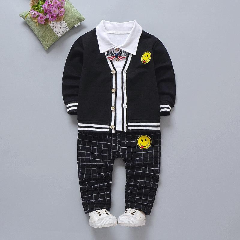 Acquista 2019 Bambini Ragazza Ragazzi Moda Abbigliamento Primavera Autunno  3 Pezzi   Set Il Tempo Libero Smiley Maglione Cappotto Vestiti Bambino  Cotone ... a0a2392fae2