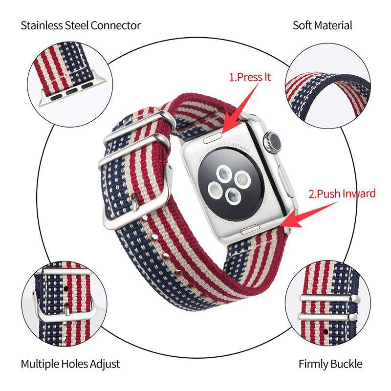 Nylon Soft Watch Band for Apple Watch Band Straps 40mm 44mm 42mm 38mm Adjustable Closure Loop Bracelet Replacement Watchband for Apple Watch