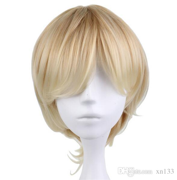 Short Curly Men Male Cosplay Blonde 35 Cm Synthetic Hair Wigs
