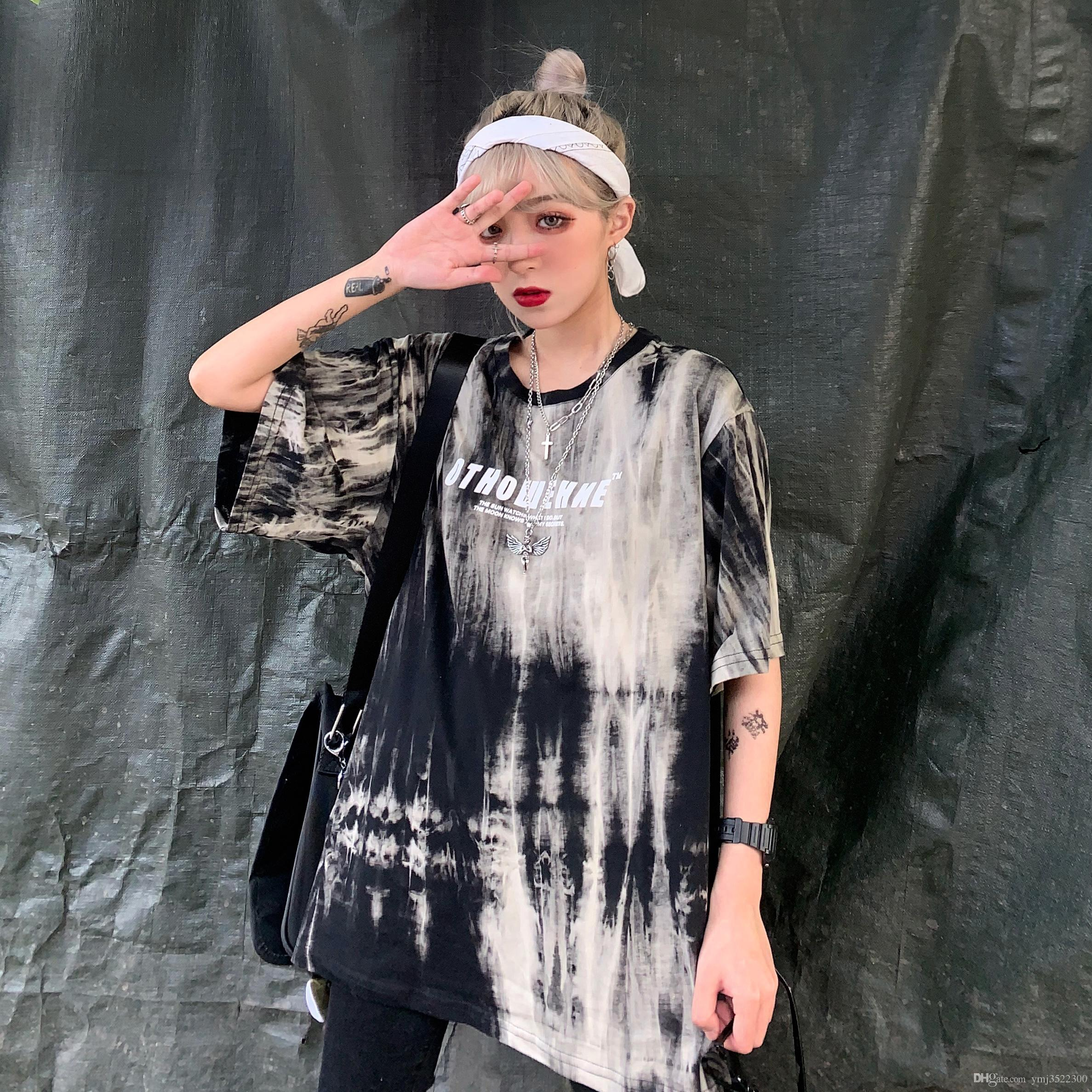 Chaohuan version of Harajuku style street hip-hop retro tie-dyed letters printed loose fashion T-shirt TEES
