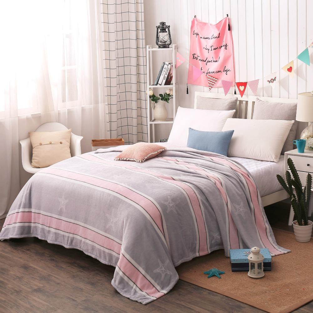 200x230cm Big Size Home Textile Coral Fleece Star Blanket on the Bed ... 6a04710db