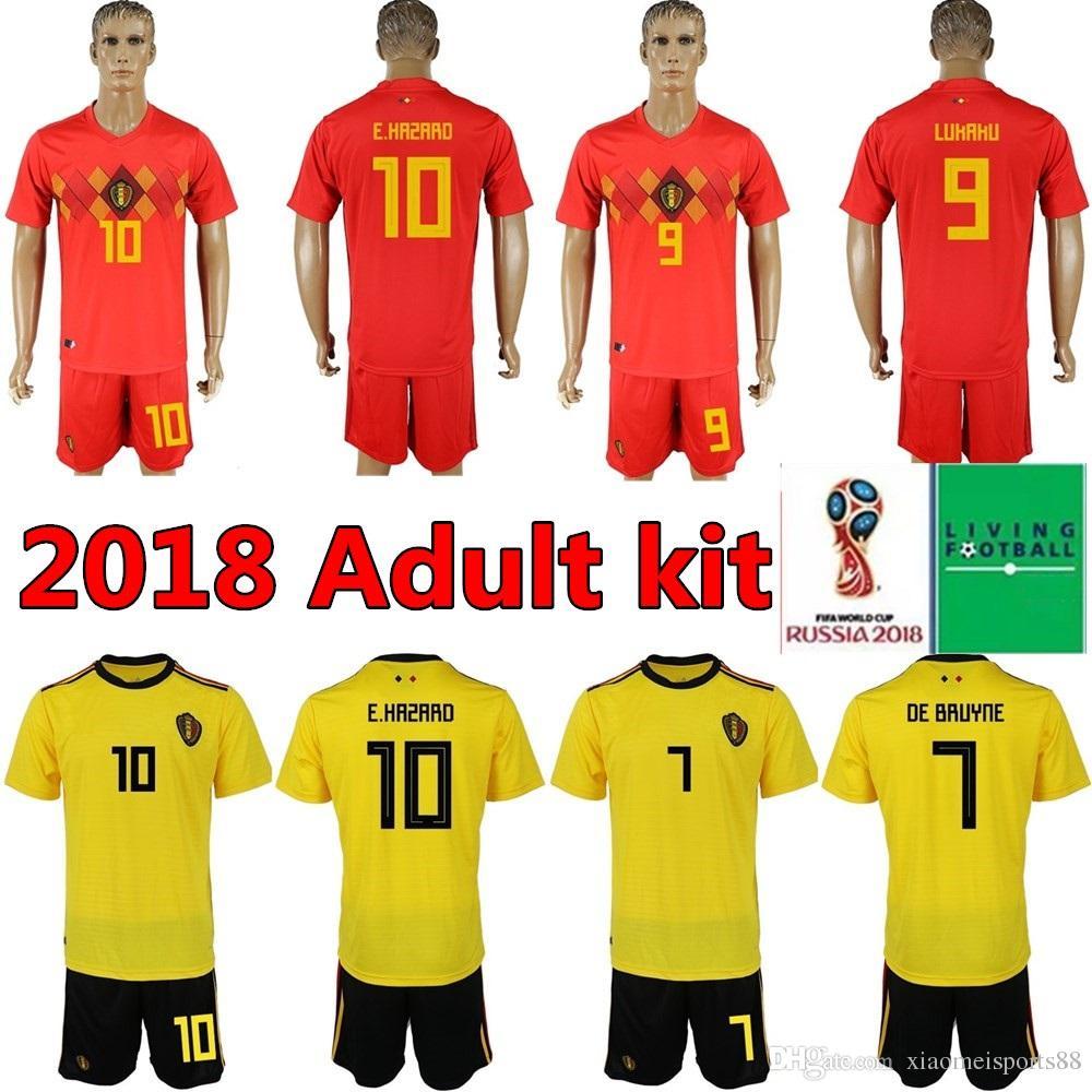 promo code a7ac7 42f1f HAZARD DE BRUYNE 2018 World Cup Home red Belgium soccer Jersey Adult kits  NAINGGOLAN LUKAKU KOMPANY MERTENS 18 19 away yellow Football Shirt