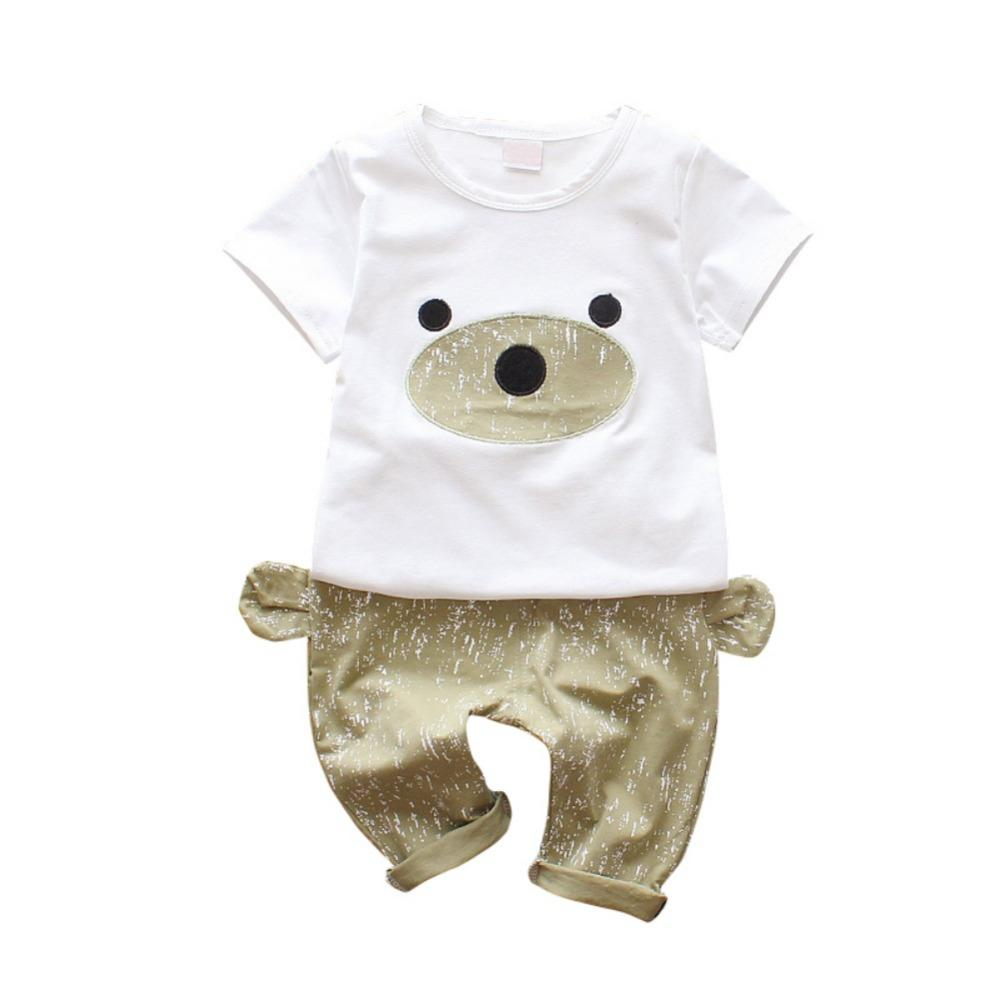 80be01153 Infant Baby Cute Short Sleeve Cartoon Bear T-shirts Tops+Ears Design ...