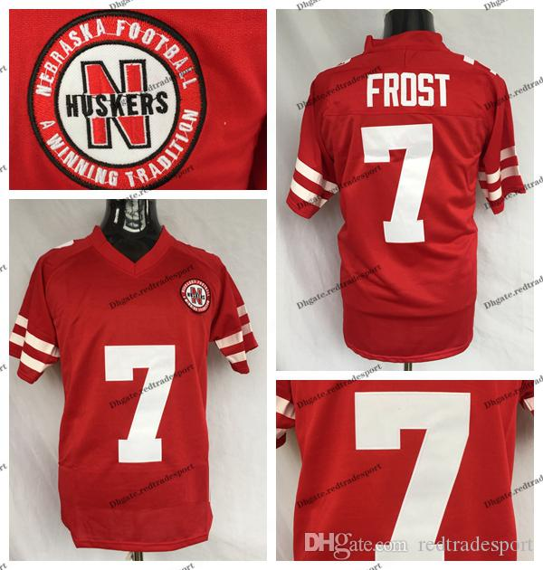 new style c2ac3 3cbea Mens Scott Frost Nebraska Huskers College Football Jerseys Cheap #7 Scott  Frost Stitched University Football Shirts S-XXXL