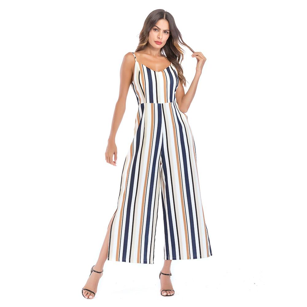 08a8d462a73 2019 Jumpsuits Women Spaghetti Strap Deep V Neck High Waist Striped Wide  Legged Pants Elegant Lady Party Fashion Holiday Jumpsuit 8937 From  Clothes zone